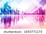 city skyline silhouette at... | Shutterstock .eps vector #1053771173