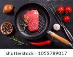fresh meat with ingredients for ... | Shutterstock . vector #1053789017