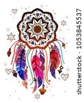 colored bohemian vector... | Shutterstock .eps vector #1053845537