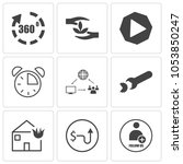 set of 9 simple editable icons... | Shutterstock .eps vector #1053850247