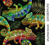 embroidery color chameleons and ... | Shutterstock .eps vector #1053859193