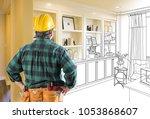 facing custom built in shelves... | Shutterstock . vector #1053868607
