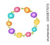cute round frame. paper cut...   Shutterstock .eps vector #1053877073