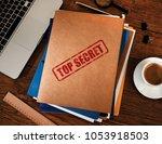 top secret folders | Shutterstock . vector #1053918503