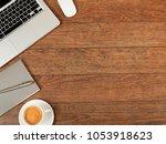 working desk from above  | Shutterstock . vector #1053918623