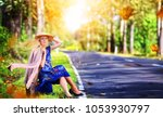 amusing woman in a hat on a... | Shutterstock . vector #1053930797