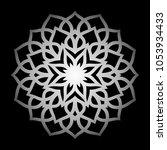 mandala. silver round ornament... | Shutterstock .eps vector #1053934433