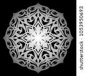 mandala. silver round ornament... | Shutterstock .eps vector #1053950693