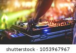 dj mixing outdoor at beach... | Shutterstock . vector #1053967967