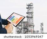 businessman fingers touching...   Shutterstock . vector #1053969347