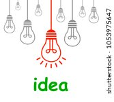 creative creation ideas bulb ... | Shutterstock .eps vector #1053975647