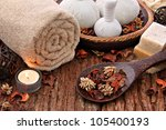 spa massage setting with... | Shutterstock . vector #105400193