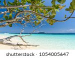 beautiful beach  seascape clear ... | Shutterstock . vector #1054005647