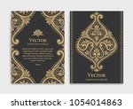 gold vintage greeting card on a ... | Shutterstock .eps vector #1054014863