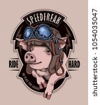 funny emblem. pig in a retro... | Shutterstock .eps vector #1054035047