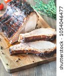 grilled pork ribs on the wooden ...   Shutterstock . vector #1054046477