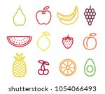 colorful outline fruit icon set.... | Shutterstock .eps vector #1054066493