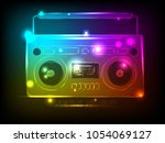bright tape recorder with... | Shutterstock .eps vector #1054069127