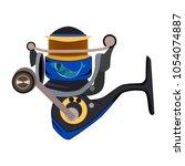 fishing reel or spinning reel... | Shutterstock .eps vector #1054074887
