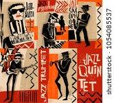 cool vintage vector of jazz... | Shutterstock .eps vector #1054085537