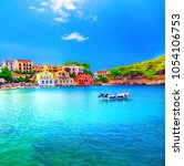 assos village in kefalonia ... | Shutterstock . vector #1054106753