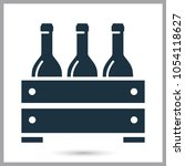 wooden box of wine simple icon | Shutterstock .eps vector #1054118627