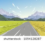 new zealand.road among the... | Shutterstock .eps vector #1054128287