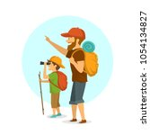 father and son outdoors  boy... | Shutterstock .eps vector #1054134827