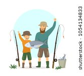 happy excited father and son...   Shutterstock .eps vector #1054134833
