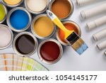 paint can and paintbrush | Shutterstock . vector #1054145177