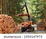 lumberjack with modern... | Shutterstock . vector #1054147973