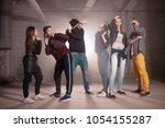 teenagers living the part in... | Shutterstock . vector #1054155287