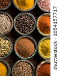 variety of spices and herbs on... | Shutterstock . vector #1054157717