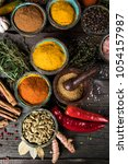 variety of spices and herbs on... | Shutterstock . vector #1054157987