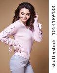 beautiful sexy woman long... | Shutterstock . vector #1054189433