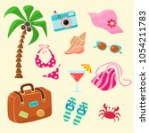 a set of items to relax at the... | Shutterstock .eps vector #1054211783