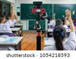 closeup smart mobile phone... | Shutterstock . vector #1054218593