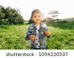 happy family rest in nature and ... | Shutterstock . vector #1054220537