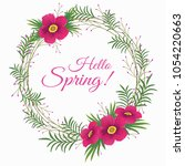 spring card with flowers wreath.... | Shutterstock .eps vector #1054220663