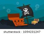 a lost treasure. illustration... | Shutterstock .eps vector #1054231247