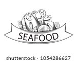 graphic seafood together  vector   Shutterstock .eps vector #1054286627