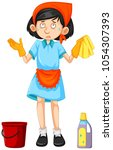 maid with cleaning tools... | Shutterstock .eps vector #1054307393