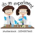 two kids doing experiment in...   Shutterstock .eps vector #1054307663