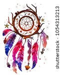 colored bohemian vector... | Shutterstock .eps vector #1054313213