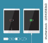 realistic tablet icons... | Shutterstock .eps vector #1054358363