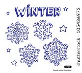 snowflakes and stars. hand... | Shutterstock .eps vector #105436973