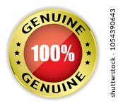 red 100  genuine badge with... | Shutterstock .eps vector #1054390643