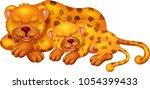 Cute Leopard Cartoon Sleeping...