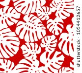 seamless tropical pattern red. | Shutterstock .eps vector #1054412657