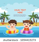 happy kids play and swim at the ... | Shutterstock .eps vector #1054415273
